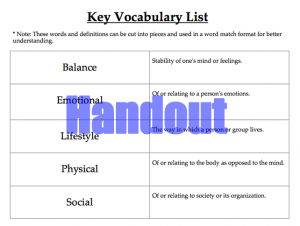 Active Living Vocabulary