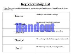 Active Living Vocabulary